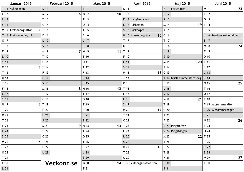 Kalender för 2015 med helgdagar och veckonummer … online almanacka ...
