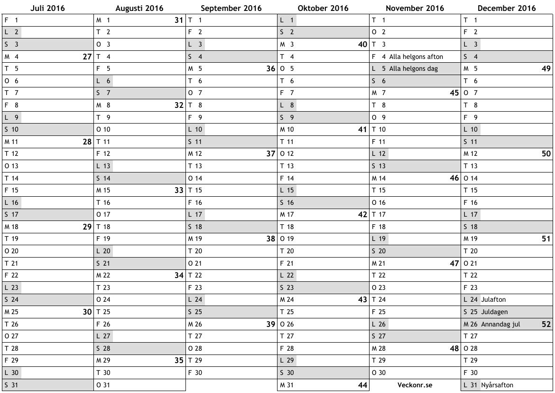 Kalender 2016 Med Veckonummer | Calendar Template 2016