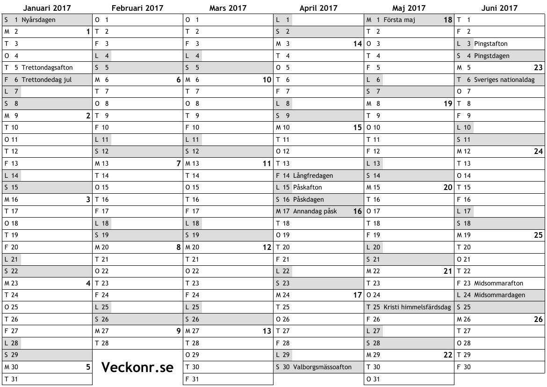 Kalender för 2017 med
