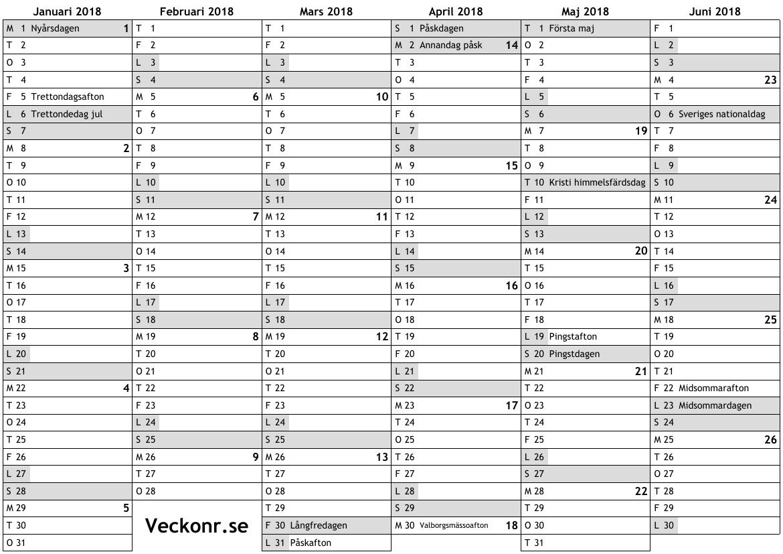 Kalender för 2018 med helgdagar och veckonummer ... online almanacka ...